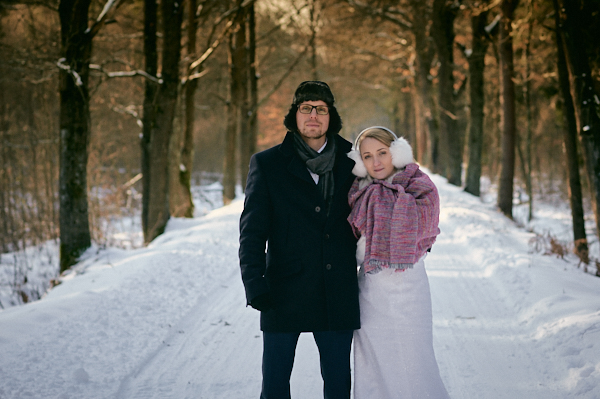sesja w zimie, plener w zimie, zamek Promnice, Plener w promnicach