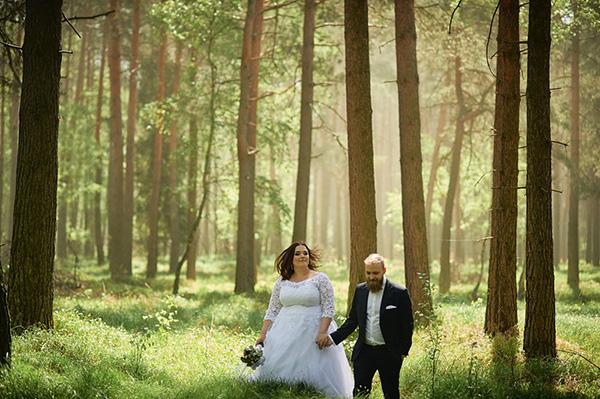 plener ślubny w lesie, leśny plener